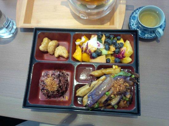 Zen Gardens: Eggplant combo luncheon in a bento box