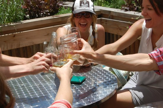 Ploughboy inc. : friends enjoying Colorado craft-beer and wine on our outdoor patio