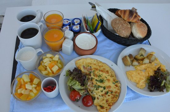 Porto Fira Suites : An example of our daily breakfast brought to our room at whatever time we requested