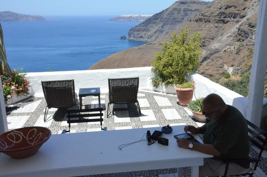 Porto Fira Suites : View to our terrace and beyond - from the honeymoon suite