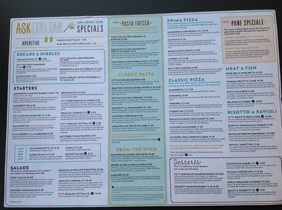 Ask Italian Restaurant Menu
