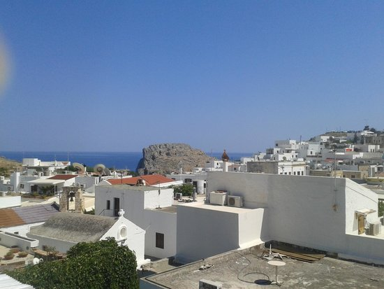 Lindos : view from a rooftop restaurant
