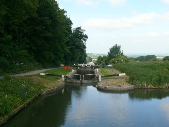 Caen Hill Locks: The top of the chain showing the retention pond