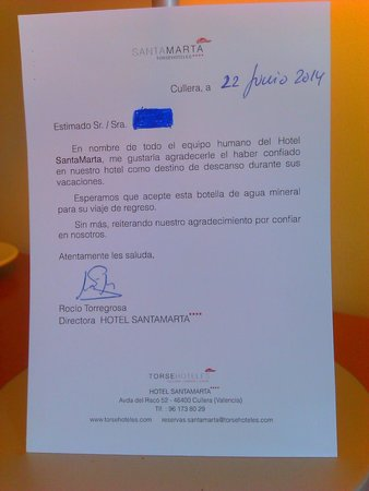 Hotel SantaMarta: Carta de despedida