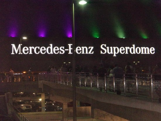 Mercedes-Benz Superdome: Outside at night