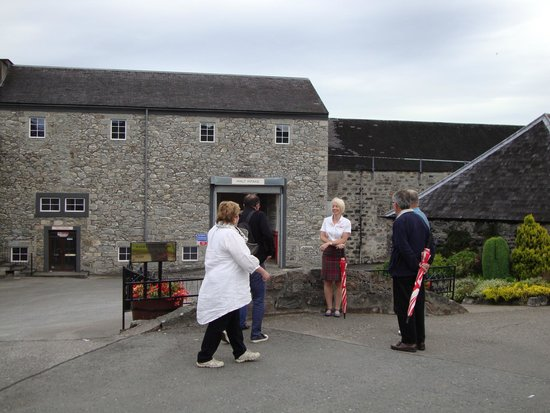 Glenfarclas Distillery: In the yard before touring the distillery building
