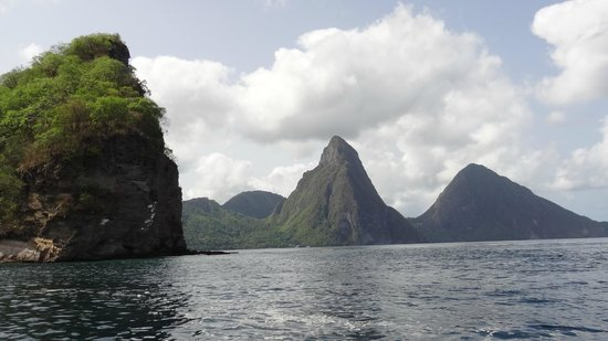 St. James's Club Morgan Bay: pitons from ocean
