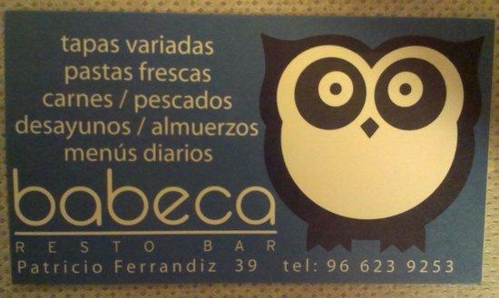 Babeca Restobar : Tarjeta