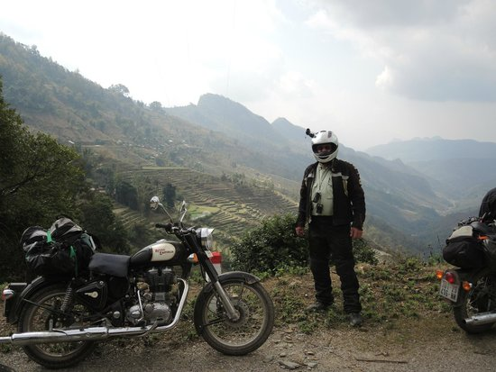 MotoTours Asia: Tryin' out the Royal Enfield's near China border.
