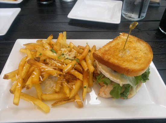 Latitude 42 Brewing Co.: Trukey Bacon Brie Sandwich with Truffle Fries