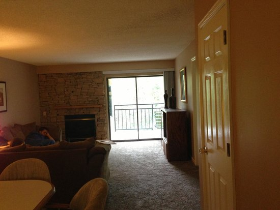 Park Place Condominiums: Looking from kitchen into living room.
