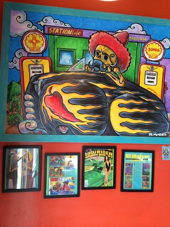 Station 316 Cafe: Art work and logo done by Artist El Moises. Taos NM.