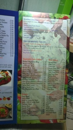 Curry Queen Restaurant: menu card
