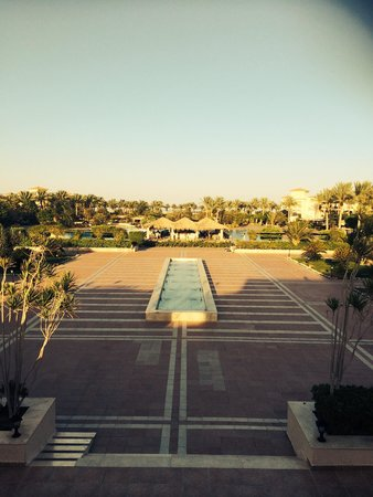 Jaz Mirabel Beach: Looking from the bar terrace towards the pools and the beach