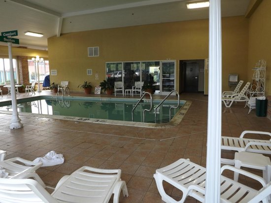 Comfort Suites: Pool with fitness center in background