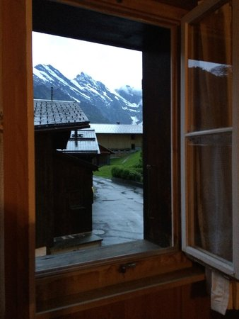 Pension Gimmelwald: view from window in room