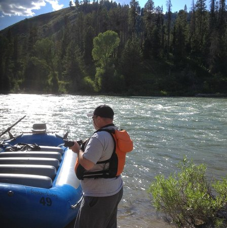 Barker-Ewing Whitewater : my husband enjoying the river after exiting the boat