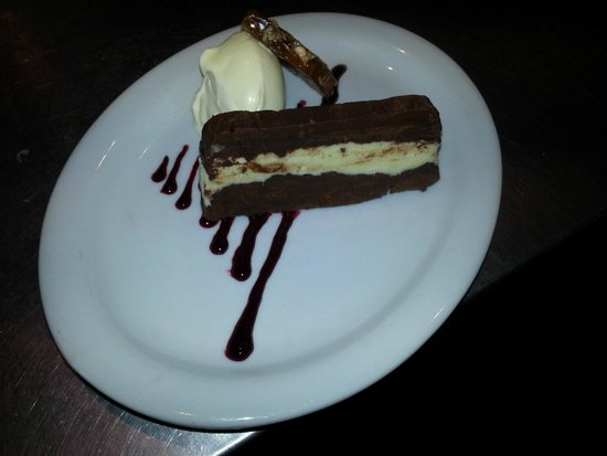 The Plaice Restaurant: Double Chocolate Terrine, Peanut Brittle & Devon Clotted Cream