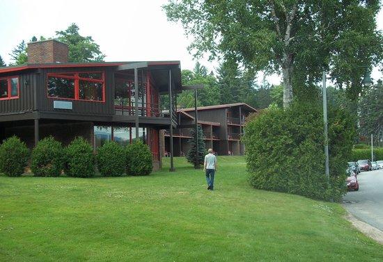 view of lake house