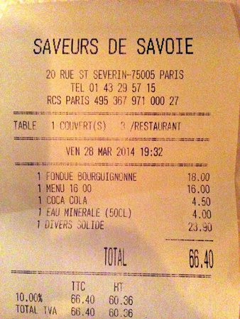 Saveur de Savoie: cost for entree and drinks for 3