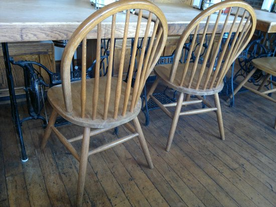Tony's Just A Bite: Tables in back room are made from old Singer treadle machines