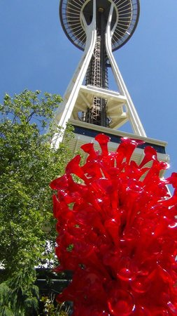 Chihuly Garden and Glass: Seattle Space Needle in the background
