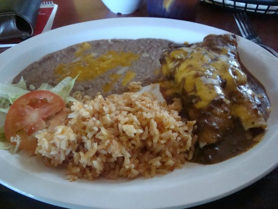 Holy Frijoles: Beef Enchiladas, beans, rice and small salad