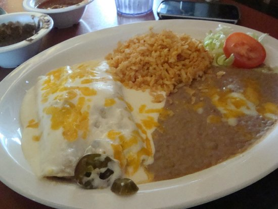 Holy Frijoles: Chicken Enchiladas, beans, rice & small salad