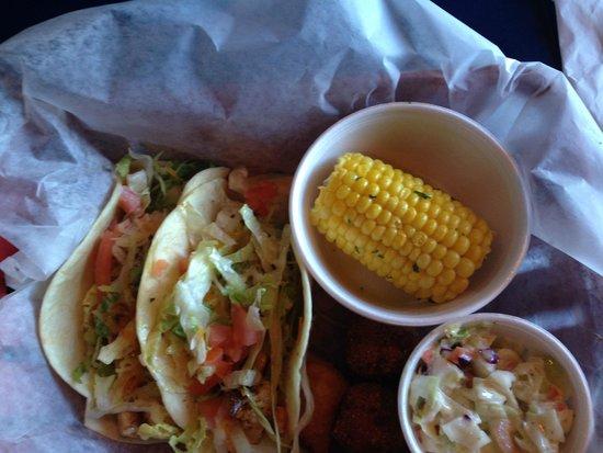 Shrimp Basket: mahi mahi tacos