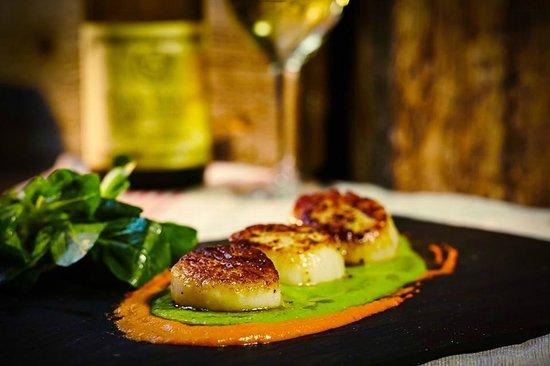 French Alpine Bistro - Creperie du Village: SEared Sea Scallops, Romesco sauce and Asparagus Puree.