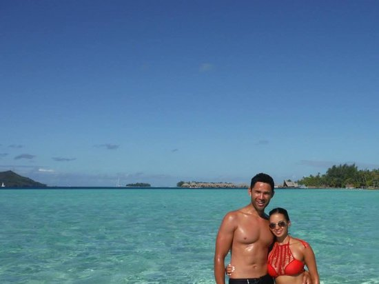 Bora Bora Pearl Beach Resort & Spa : The Bora Bora Pearl Beach in the background on our jet ski tour