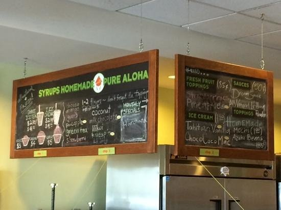 Uncle Clay's House of Pure Aloha: menu board on 07-17-2014