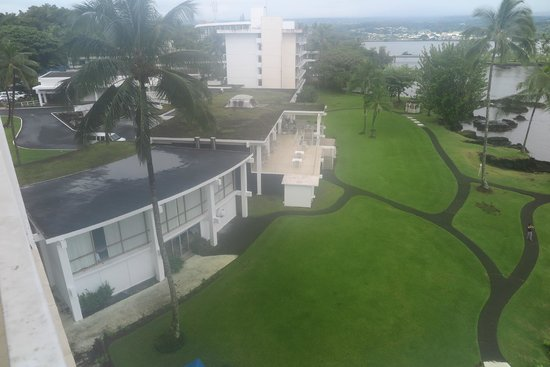 Hilo Naniloa Hotel: Moss growing all over the roof, dirty grounds
