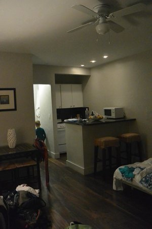 Hotel18: Kitchenette & living room