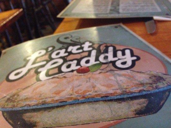 Restaurant L'Art Caddy : Tout y est soignée jusqu'à la présentation de la carte ... Dessin fait par un client