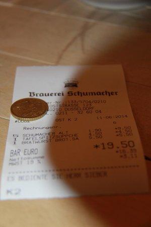 Brauerei Schumacher: Чек