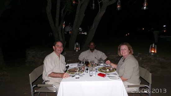Singita Lebombo Lodge: Dinner with our guide Chris, back in camp after a safari.