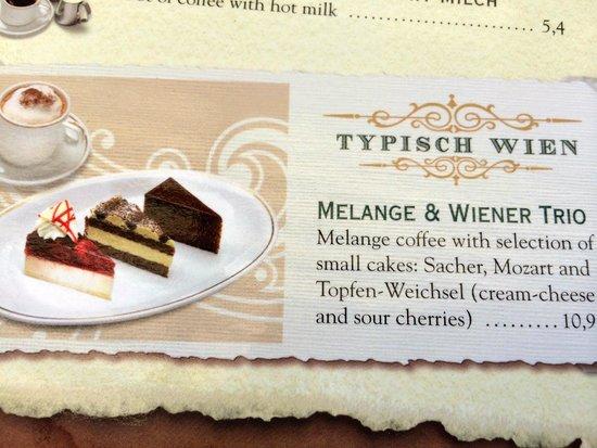 Café Restaurant Residenz: My Trio cake Dessert on the card