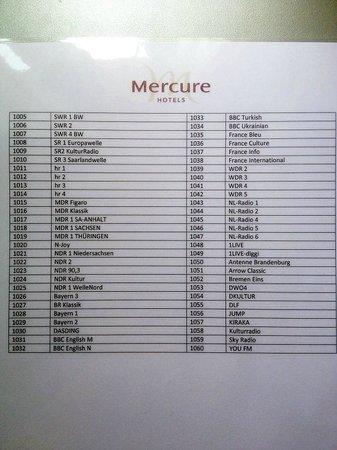 Mercure Hotel Mannheim am Rathaus: Radio Channel plan
