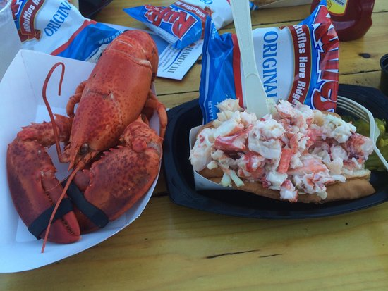 Shaw's Fish & Lobster Wharf: Whole lobster and lobster roll. Roll is served with chips at the time they were around $17 for t