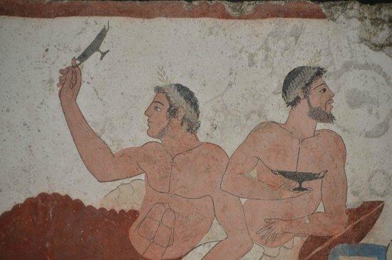 Museo Archeologico Nazionale di Paestum : Bons vivants même dans la tombe. Souvenir éternel d'un banquet, tombe du plongeur. Paestum