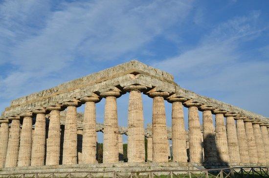 Museo Archeologico Nazionale di Paestum : Perspective en large depuis l'angle Sud-Est. Temple d'Héra. Paestum