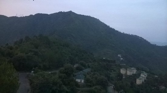 Sunrise Villa: view from our room..Tara Devi temple can be seen on the top