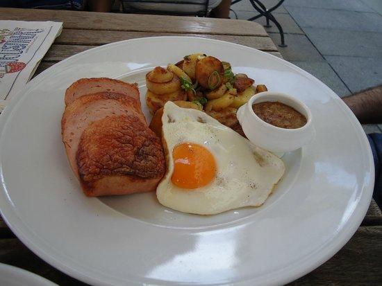 """Augustiner an der Frauenkirche: German """"Ham and Eggs""""....very tasty"""