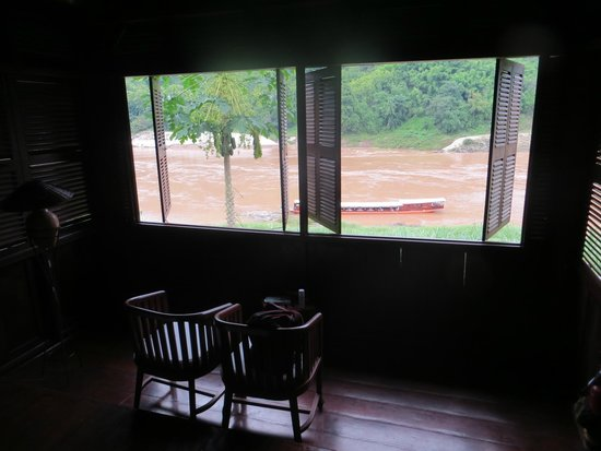 The Luang Say Lodge: f Mekong and our boat from our room