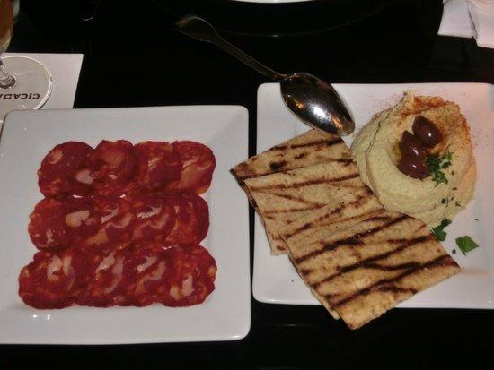 Cicada: Chorizo, Flat Bread & Hummus