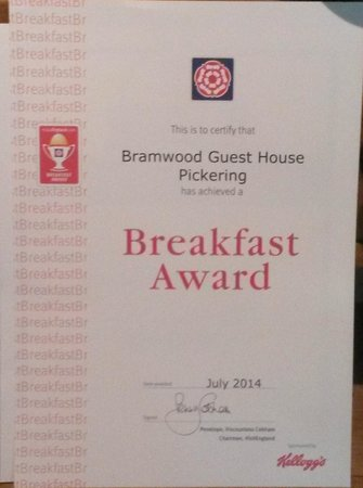 Bramwood Guest House: Our Breakfast Award for quality and range
