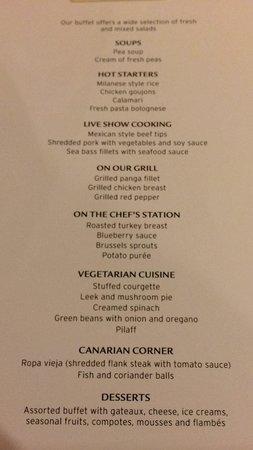 Hotel Riu Palace Oasis : menu