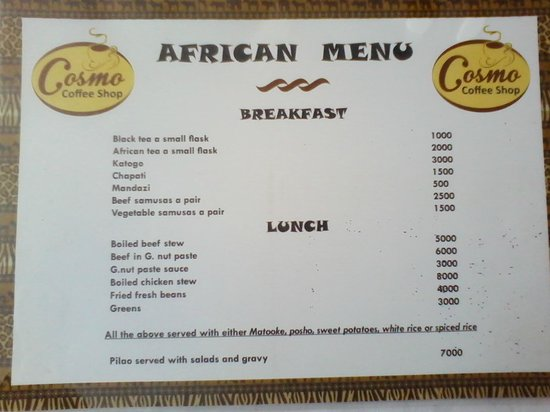 African menu picture of cosmo restaurant mbale for African cuisine menu