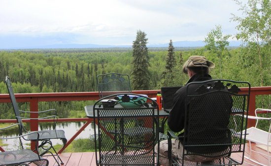 Talkeetna Denali View Lodge & Cabins : Computer work with a view!
